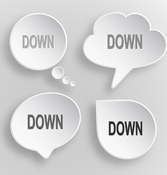 Down white flat buttons on gray background vector