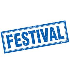 Festival blue grunge square stamp on white vector