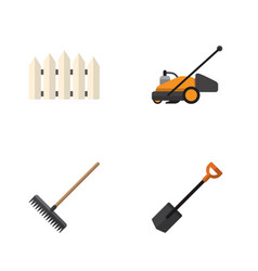 flat icon garden set of lawn mower harrow wooden vector image