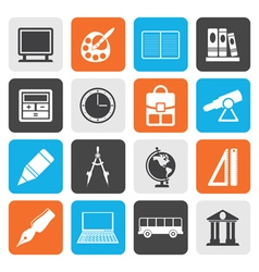 Flat School and education icons vector image