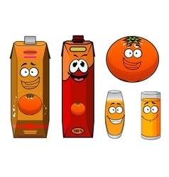 Funny orange juice packs cartoon characters vector image vector image
