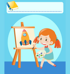 Girl drawing on canvas in room vector