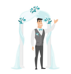 Happy groom standing under the wedding arch vector