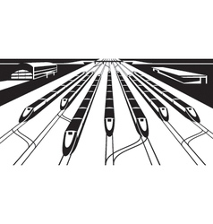High-speed rail trains in perspective vector