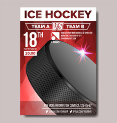Ice hockey poster sport event announcement vector