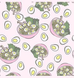 japanese ramen noodle seamless pattern vector image