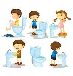 kids and bathroom accessories vector image vector image