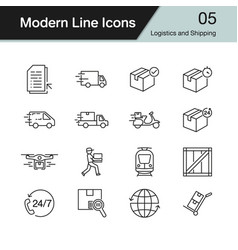 logistics and shipping icons modern line design vector image