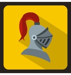 Medieval knight helmet icon flat style vector