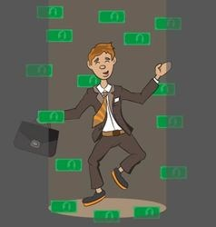 money falling on a person vector image