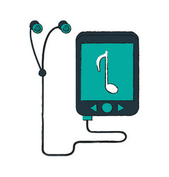 music player with earphones vector image