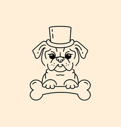 pug gentleman cartoon pug-dog cute dog in the hat vector image