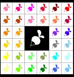 Radish simple sign felt-pen 33 colorful vector