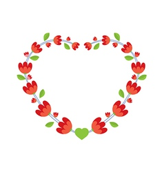 Red flowers wreath vector