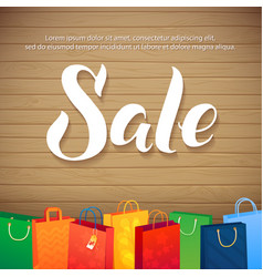 Sale Poster on Wood Background of vector image