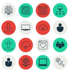 Set of 16 web icons includes blog page human vector