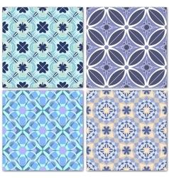 Set of 4 decorative mosaic seamless patterns vector image vector image