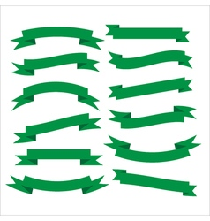 Set of beautiful festive green ribbons vector image
