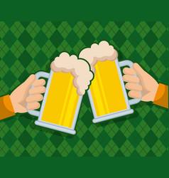 two hand holds beer glass beverage celebration vector image