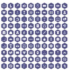 100 basketball icons hexagon purple vector
