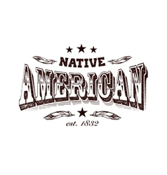 Native american company label vector