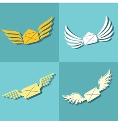 Mail with wings icons on blue background vector