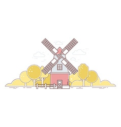 Color gray and red windmill and autumn y vector