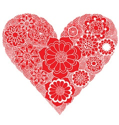 Bright red floral love heart design vector