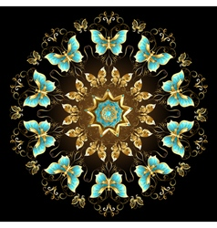 Mandala of Golden Butterflies vector image