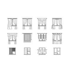 Curtains Types Thin Line Set vector image
