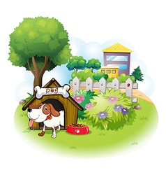 A doghouse with a dog inside a fence vector