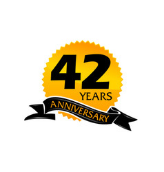42 years ribbon anniversary vector image