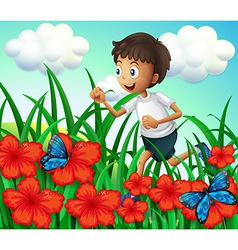 A boy running at the garden with flowers and vector image
