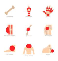 Health problem icons set cartoon style vector