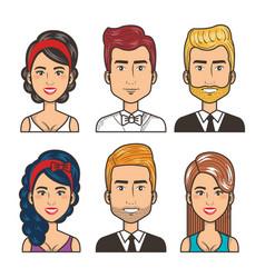 Set of people happy men and women portrait design vector