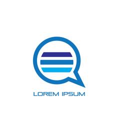 circle chat sign logo vector image