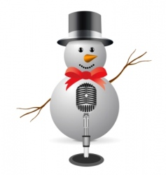 Snowman with microphone vector