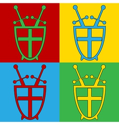 Pop art shield and swords icons vector
