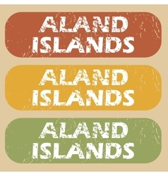 Vintage aland islands stamp set vector