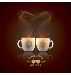 Two cream color cups vector