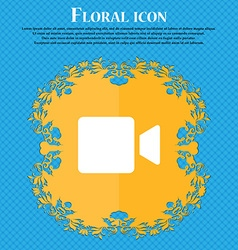 Video camera floral flat design on a blue vector