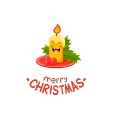 Candle cheerful christmas card vector