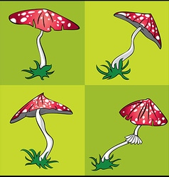 Cartoon poisonous amanita mushroom with white dots vector