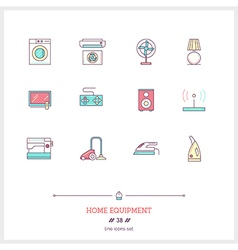 Home equipment line icons set vector