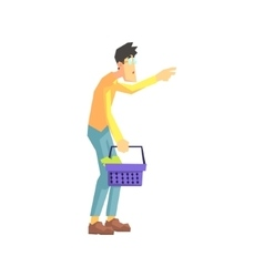 Man taking something from the shelf vector