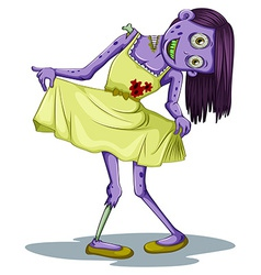 A female zombie wearing a dress vector
