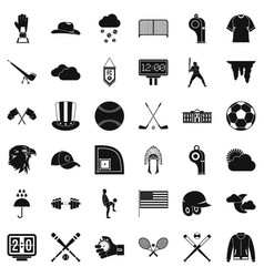Baseball field icons set simple style vector