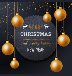christmas label with type design golden balls vector image