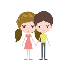 Colorful caricature thin couple in clothes of vector