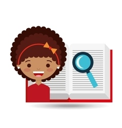 cute girl open book study search vector image